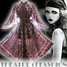 VINTAGE PHOOL INDIAN DRESS 70s 8 10 12 14 16 18 20 60s HIPPY BOHO GAUZE WEDDING