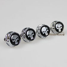 4x Punisher Car License Plate Frame Screw Bolts Cap Cover For Porsche All Model