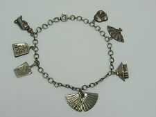 Vintage ASIAN Chinese Export Sterling Silver 7 Charm Bracelet