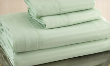 Queen Size Sage 500 Thread Count 100% Cotton Sateen Dobby Stripe Sheet Set