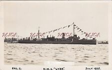 "Royal Navy Real Photo. HMS ""Lydd""  HUNT-Class Minesweeping Sloop. July, 1935"
