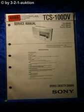Sony Service Manual TCS 100DV Cassette Corder (#4085)