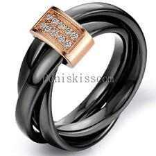 Black Ceramic Rope Rolling Ring Silver/ Gold Tone Tricyclic Engagement Ring