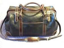 Leather Weekender Overnight Holdall Frame Bag Sachel Duffle Black Brown NWOT