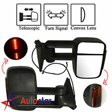 LED Signal Manual Towing Hauling Mirror Pair For 88-01 Chevy C/K 1500/2500/3500