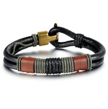 Mens Genuine Leather Braided Rope Wristband Bracelet Surfer TOP QUALITY !