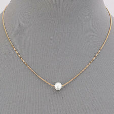 Gold Dainty Simple Pearl Elegant Pendant Necklace