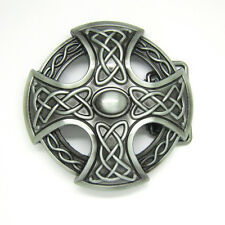 Mens Silver Celtic Irish Knot Belt Buckle Keltic Weave Medieval Cross Shield New