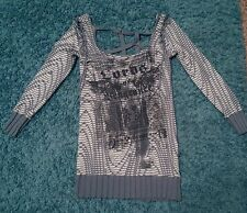 Salvage Women's Graphic Lace Up Tunic Top Burnout shirt blouse blue/gray/cream S