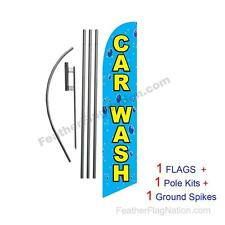 Car Wash (bubbles) 15' Feather Banner Swooper Flag Kit with pole+spike
