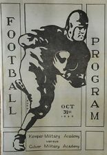 1925 football program CULVER MILITARY ACADEMY v KEMPER MILITARY SCHOOL