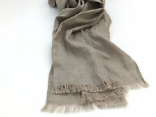 Natural Pure Linen Scarf for Men and Women, Long Solid Beige Gray Flax xxl Wrap