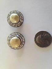 Vintage Pearl and cut crystal earrings, CLIP ON!