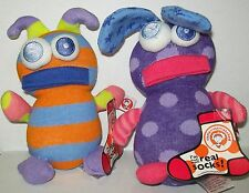 2 Little Miss Matched Plush Sock Stuffed Animal Toys Retired knit wits