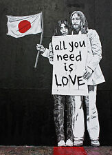 Yoko Ono John Lenon graffiti street art on Canvas ACEO
