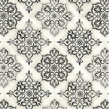 Trieste - Italian Medallion Tiles - Gray/Silver by Robert Kaufman, cotton fabric