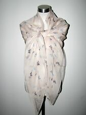 "AUTHENTIC 100% SILK ALEXANDER McQUEEN INSECTS 53""sq PALE PINK SCARF/SHAWL"