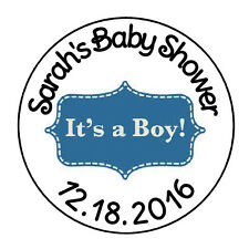 "24 PERSONALIZED ITS A BOY BLUE FAVOR LABELS ROUND STICKERS 1.67"" *"