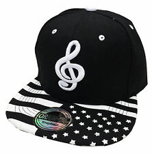 SNAPBACK MUSIC NOTE USA BASEBALL CAP HAT HIP HOP COOL TRUCKER CAPPY BLACK