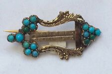 stunning small antique victorian turquoise 15k gold brooch-1.7g