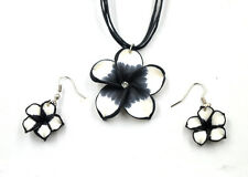Wholesale 1Set Black Polymer Clay FIMO Flower Silk Chain Necklace+Earrings