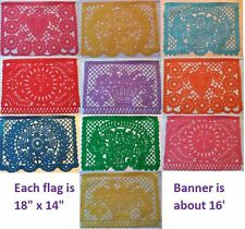 Mexican Traditional Plastic Papel Picado Cutout Flags Bunting Paper 18x14, 16'