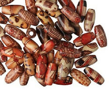 4186NB Beads Painted Wood Oval Mix, 15x7mm 15mm, Tan Red Brown Beige, 100 Qty