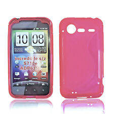 Rubber in silicone TPU per cellulare Cover Case Guscio in rosa per HTC Incredible S