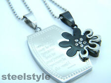 WOMENS MENS STAINLESS STEEL 316L COUPLE  PENDANT NECKLACE SILVER/BLACK 01