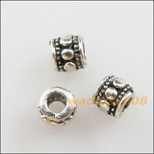 50 New Charms Tibetan Silver Tone Tiny Round Tube Spacer Beads 4mm