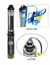 "Submersible Pump, 4"" Deep Well, 1 HP, 220V, 33 GPM, 207 ft Max, long life"