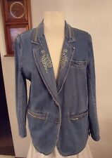 Women's/Ladies Baccini Denim Blazer Jacket Coat Embellished With Studs M