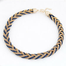 Stylish Slim Mesh Rope Cord Choker Collar Necklace Weave Braided