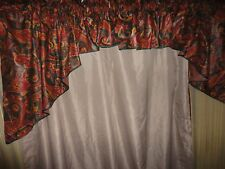 CROSCILL DERBY GREEN GOLD RED PAISLEY CHINTZ (3PC) SWAG VALANCE SET 166 X 33
