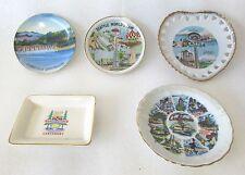 Vintage Souvenir Plates Seattle Worlds Fair California Bonneville Dam BC Cent