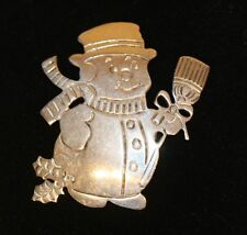 Vintage Mexico Sterling Silver 925 Frosty the Snowman Pin Brooch Pendant TM-33