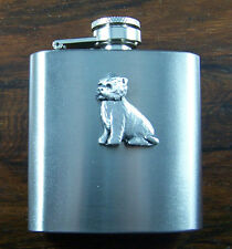3oz Stainless Steel Hip Flask with Pewter Terrier Dog Emblem FREE UK POST
