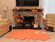 Fall Leaves Area Rug Assorted Colors Faux Fur Furry Sheepskin Home Living Decor