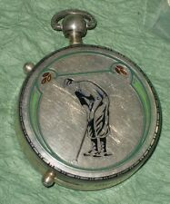ART DECO ANTIQUE STERLING SILVER GUILLOCHE ENAMEL POCKET WATCH GOLF BOBBY JONES