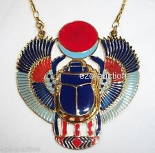 Unique Large Egyptian Hand Made Falcon Scarab Enameled Brass Necklace