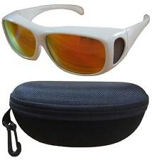 100%UV Polarized sunglass cover over Rx glass white frm w/burgundy len+fit case