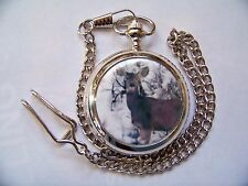 Quartz Pocket Watch with Lid Chain and Lone Deer Image Gift