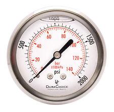 """2-1/2"""" Liquid Filled Pressure Gauges - 1/4"""" NPT Center Back Mount 2000PSI"""