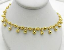 "Solid 18k Yellow Gold Ball Dangle Link Bracelet 7.5"" 4.4 grams"