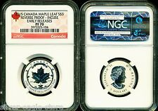 2015 $3 CANADA SILVER MAPLE LEAF INCUSE NGC PF70 UCAM REVERSE PROOF 1/4 OZ pr70