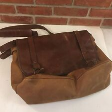 Distressed Leather Satchel Cross Body Brief Case Carry All Messenger Bag Browns