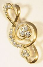 Brooch Love Heart Treble Clef Crystals Gold Musical Gift Present Pin Badge