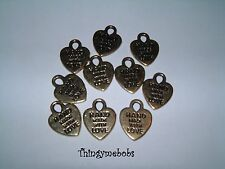 10 x GOLD COLOURED HAND MADE WITH LOVE CHARMS - CRAFTS/JEWELLERY MAKING