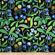 By 1/2 Yard Enchanted Millefleurs Periwinkle ~ Free Spirit Jane Sassaman Fabric