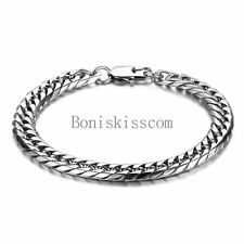 Polished Silver Stainless Steel Flat Curb Link Chain Men's Bracelet 8.5 Inch